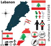 Vector of Lebanon set with detailed country shape with region borders, flags and icons