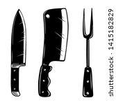 kitchen appliances. knife  meat ... | Shutterstock .eps vector #1415182829