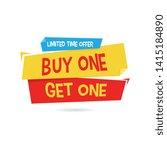 buy one get one origami label | Shutterstock .eps vector #1415184890