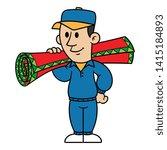cartoon man carrying carpet roll | Shutterstock .eps vector #1415184893