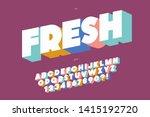 fresh font 3d bold style cute... | Shutterstock .eps vector #1415192720