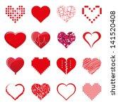 vector hearts set | Shutterstock .eps vector #141520408