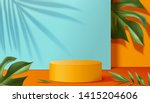 orange podium stage with... | Shutterstock . vector #1415204606