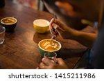 barista make coffee latte art... | Shutterstock . vector #1415211986