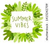 green tropical leaves frame for ... | Shutterstock .eps vector #1415242709