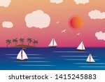 sea view with sailing boat.... | Shutterstock .eps vector #1415245883