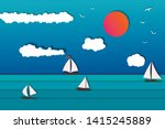 sea view with sailing boat.... | Shutterstock .eps vector #1415245889