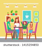 coffee house or cafe  family...   Shutterstock .eps vector #1415254853