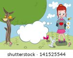 a little girl with a half... | Shutterstock .eps vector #141525544