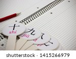 Small photo of cards with Chinese transcription numbers are on a notebook with a red pencil