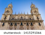 Facade of the historic cathedral in Jaen, Spain