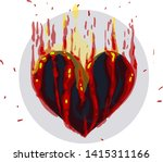 a big heart is in a gray circle.... | Shutterstock .eps vector #1415311166