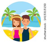 summer time holiday couple in...   Shutterstock .eps vector #1415315150