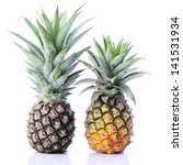 two raw pineapple on white with ... | Shutterstock . vector #141531934