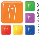 coffin icons set collection...   Shutterstock .eps vector #1415341040