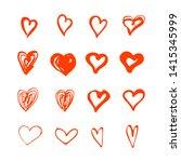 hand drawn hearts shape set... | Shutterstock .eps vector #1415345999