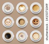 coffee cups. cappuccino latte... | Shutterstock .eps vector #1415371049