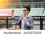 happy asian businessman selfie... | Shutterstock . vector #1415372333
