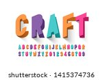 paper craft style font design ... | Shutterstock .eps vector #1415374736
