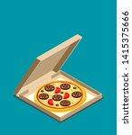 isometric icon of italian pizza ...