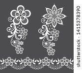 vitnage lace half single vector ... | Shutterstock .eps vector #1415378390