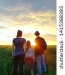 bright sunset. people watch the ...   Shutterstock . vector #1415388383