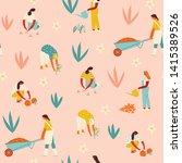 garden workers seamless pattern.... | Shutterstock .eps vector #1415389526