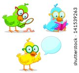 three smart birds learning and... | Shutterstock .eps vector #141539263