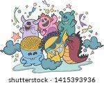 illustration of doodle enjoy... | Shutterstock .eps vector #1415393936