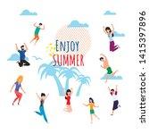enjoy summer wish lettering... | Shutterstock .eps vector #1415397896