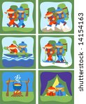 stylized different icons hikes | Shutterstock .eps vector #14154163