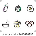six foods icon . stuffed bell... | Shutterstock .eps vector #1415428733