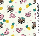 seamless pattern with summer... | Shutterstock .eps vector #1415448200
