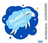 vector image. blue cute cloud... | Shutterstock .eps vector #1415450489
