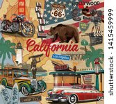 vintage california poster with... | Shutterstock .eps vector #1415459999