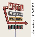 Motel Old Signage Vintage Meta...