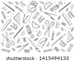 stationary tools background ... | Shutterstock .eps vector #1415494133