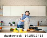 an adult hipster son and senior ... | Shutterstock . vector #1415511413