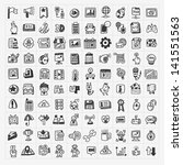 100 doodle web icons set | Shutterstock .eps vector #141551563