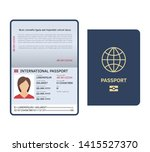 Stock photo passport document id international paper passport page with female photo legal sample isolated 1415527370