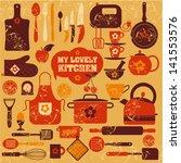 lovely kitchen background.   Shutterstock .eps vector #141553576