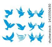 set of flying birds sign...   Shutterstock .eps vector #1415550650