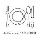 cutlery set. plate  fork  knife ... | Shutterstock .eps vector #1415571350