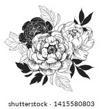 background with peony flowers.... | Shutterstock .eps vector #1415580803