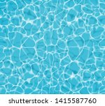 Blue water Vector realistic. Summer sea poster template. Sea waves abstract background - stock vector