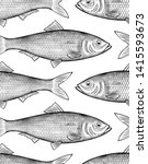 Stock photo herring fish seamless pattern background vintage engraving stylized drawing 1415593673