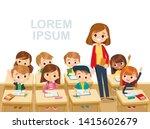 teacher with pupils in a...   Shutterstock .eps vector #1415602679