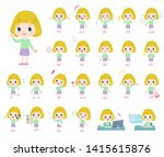 a set of caucasian girl with... | Shutterstock .eps vector #1415615876