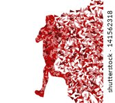 Runner abstract vector red background, man made of fragments