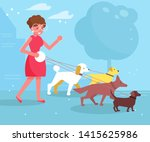 Stock vector dog walking services woman walks with four dogs vector cartoon isolated art 1415625986